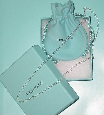 """NEW in Box! Tiffany & Co. Sterling Silver 18"""" Oval Linked Necklace Pendant Chain"""