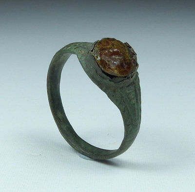 Ancient Medieval Bronze Ring With Glass Stone 15Th Century Ad
