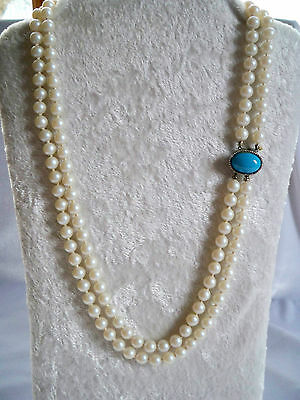 Vintage Faux Pearl Hand Knotted 2 Strand Necklace With Turquoise Lucite Clasp