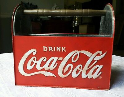 Vintage Coca Cola Advertising Utensil Caddy Carrier Galvanized w Wood Handle