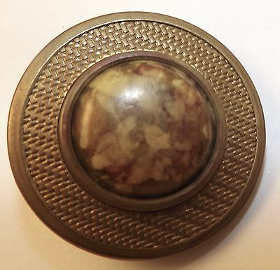 Large Celluloid Center Set in Metal Button #219