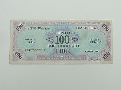 Italy Wwii 1943 A 100 Lire Allied Military Currency