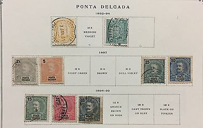 """Ponta Delgada 1892/99 """"azores"""" Selection Of 2 Stamps Mlh*, 7 Used"""
