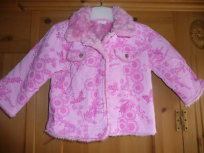 Monsoon patterned corduroy girls jacket with faux fur pink lining