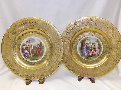 Royal China Heavy Gold Encrusted 9 Cabinet Plates by Angelica Kauffman 10.25""