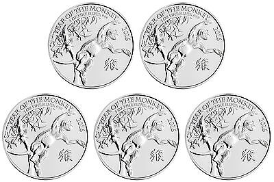 Lot of 5 - 2016 Great Britain 1oz Silver Year of the Monkey .999 Fine BU