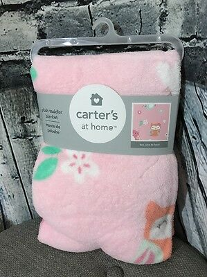 Carters Ultra Plush Toddler Baby Blanket Soft Throw Girls Owls Pink New