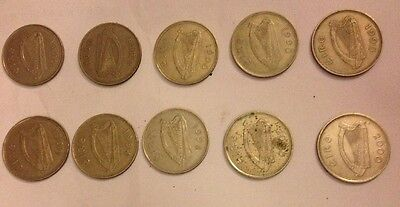 Selection of old Irish £1 Punt Coins
