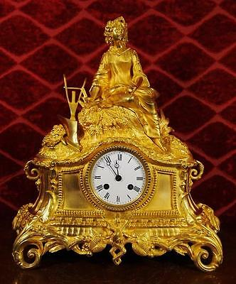 Antique 19th c French gilt ormolu bronze figural mantle clock by Rollin A.Paris