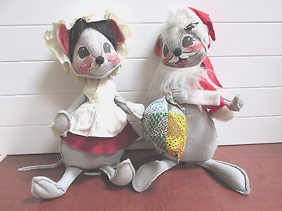 1965 & 1971 Annalee Mobilitee 2 Country Mouse Mice Thanksgiving Christmas Decor