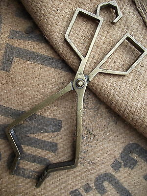 Vintage Art Deco Brass Coal Tongs old woodburner stove fire open kitchen grate