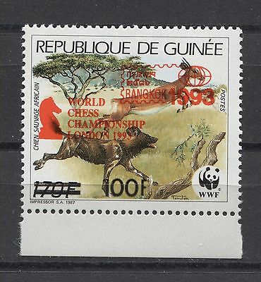 Guinea Chess Birds Scouts WWF RED OVPT. MNH