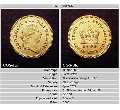 1803 EF Early Milled George III Gold Third 3rd Guinea Coin CGS 60