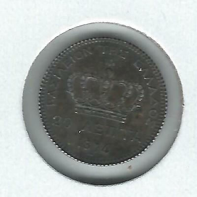 Greece 20 lepta 1874-A Toned AU