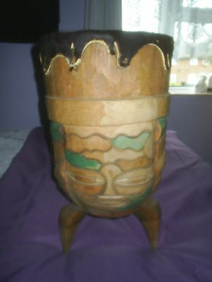Huge Handmade Carved African Solid Wood Drum, On Legs, Goatskin Top, Magnificent