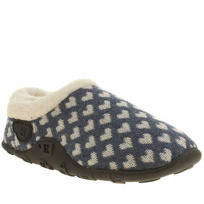 Homeys Joie Kids Junior Navy White Fabric Heart Print Slippers Size 10/11