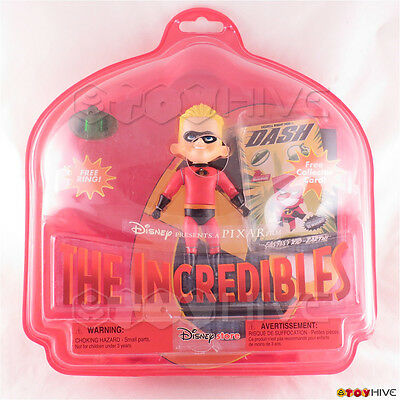 Disney Pixar The Incredibles Dash action figure ring and card - worn dent box