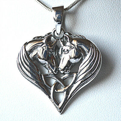 Unicorn Heart Celtic Triskel Solid 925 Silver Pendant~Lisa Parker~Wicca~Pagan