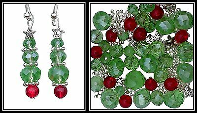 Christmas Tree Jewellery Making Packet of Beads Mix Kit Bead Earrings