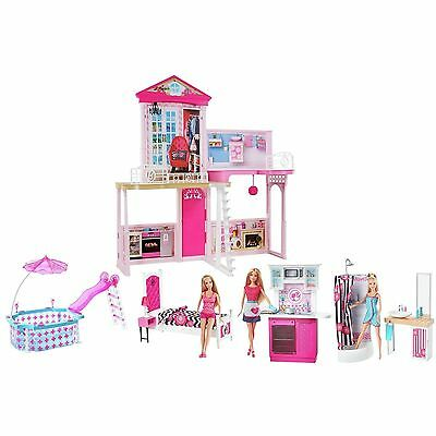 BARBIE HOUSE Complete Home Set 3 Dolls House & Glam Pool - BRAND NEW SEALED BOX