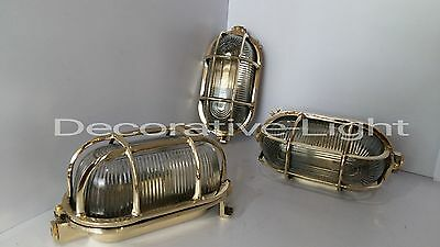 Nautical Light Marine Ship Brass Passage Bulkhead Outdoor Light Oval Light 1 Pc.