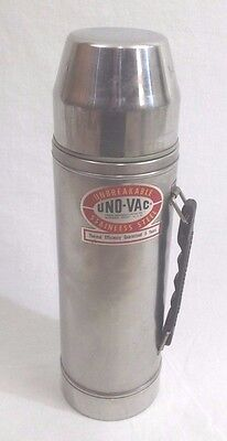 Vintage 1970s Uno-Vac Unbreakable Stainless Steel 1 Quart Vacuum Thermos Bottle