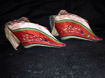 Vintage Chinese Silk Embroidered Bound Lotus Feet Shoes