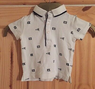Boys Next White Polo Shirt Size 6-9 Months Great Condition (02)