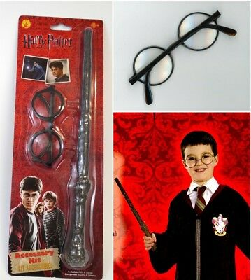 First Yr Harry Potter Child Accessory Kit Wand + Plastic Glasses Logo Licensed