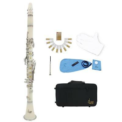 LADE Professional School Student Nickel Plated 17 Key Bb Clarinet White
