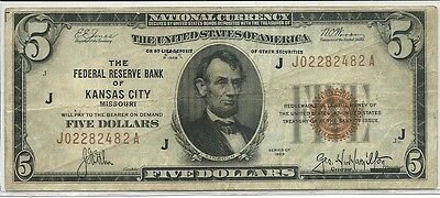 1929 US $5 National Currency Note Brown Seal * FRB of Kansas City