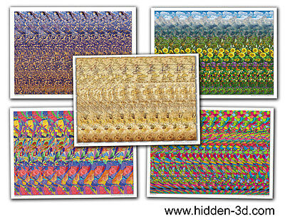 "Lot of 5 Stereogram Posters 18""x13"" Hidden 3D illusion"
