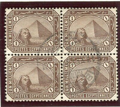 EGYPT;   1888-93 early Pyramid Sphinx issue fine used 1m. BLOCK,