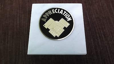 apprecition paperweight marble award metal insert personalized