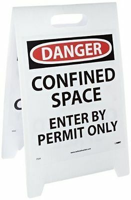 """NMC FS33 """"DANGER - CONFINED SPACE CONFINED SPACE"""" Double Sided Floor Sign"""
