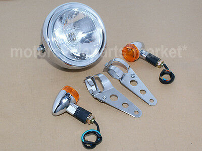 Chrome Motorcycle Metal Retro Front Headlight +Mount For Cafe Racer Bobber GN125
