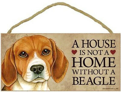 """House is Not a Home without a Beagle Sign Plaque Dog 10"""" x 5"""" Gift"""