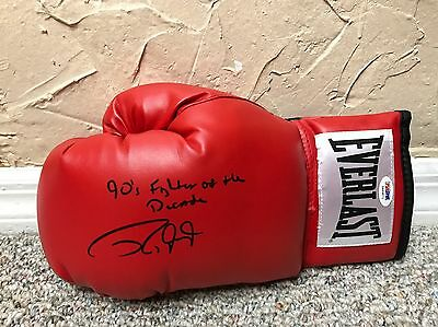 ROY JONES JR SIGNED AUTO BOXING GLOVE 90's FIGHTER OF THE DECADE INSCRIPTION PSA