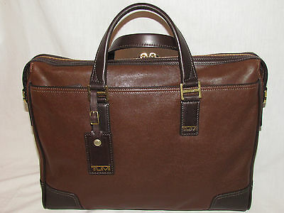 Tumi 68517 Irving Slim Briefcase Women Men Leather Laptop Case Carryon Bag Brown