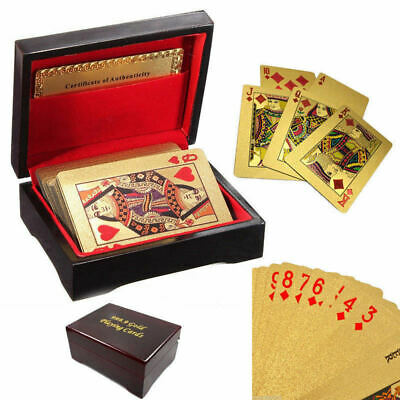 24k 99.9% Genuine Gold Plated Poker Playing Cards W/ Wooden Box Christmas Party