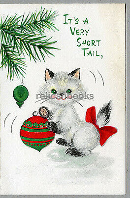 #723 Perky Kitten Plays w the Tree Ornament, Cat, Vintage Christmas Card