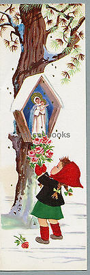 #738 GLITTERED, Offering Roses to Mother & Child, Girl, Vintage Christmas Card