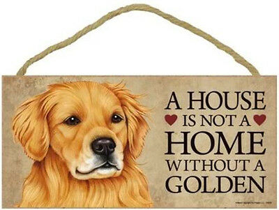 """House is Not Home without a Golden Retriever  Sign Plaque Dog 10""""x5""""  gift"""