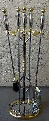 Solid Brass 2 tone Brass Chrome 5 Piece Fireplace Tool Set Stand Heavy Duty 5208