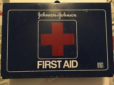 Original Johnson & Johnson First Aid Kit Wall Kit PACKED w/ Old Products #8161