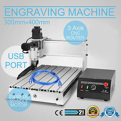 Usb Cnc Router Engraver Engraving Cutter 3 Axis 3040T-Dq Machine 300X400Mm 3D