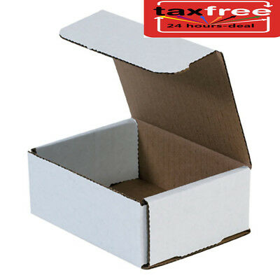 50 5x4x2 White Shipping Boxes Mailers Small, Packing Mailing Strong Cardboard