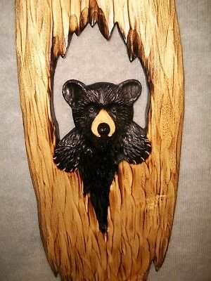 Hand Carved BLACK BEAR CUB in HOLLOW TREE Wall Chainsaw Wood Carving Cabin Decor