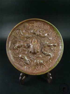 Large Antique Old Chinese Bronze Mirror Plate Statue Collectible POWERFUL DRAGON