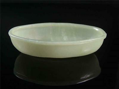 Antique Old Chinese Nephrite Celadon Jade Carved Brush Washer Oval Style